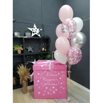 Коробка Сюрприз для шаров (розовая) 60*80*80 см